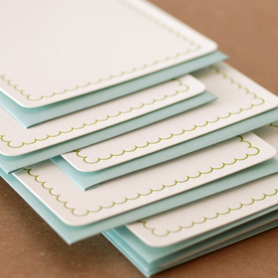 Edamame Simple Scallop Letterpress Stationery :  single medium flat cards w pool blue colored envelopes