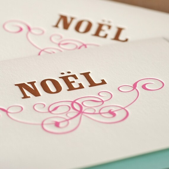 Letterpress Holiday Cards : Copper & Candy Pink Noel Holiday Cards - box of 5 large folded cards w pool blue envelopes