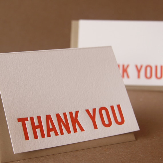 Letterpress Thank You Cards : Fire Red Modern Block Thank You Notes - single small folded card w brown kraft colored envelope