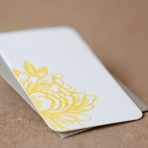 Sunshine Yellow Blossoming Flower Letterpress Mini Notes, Gift Notes, Stationery : tiny flat cards w personalized envelope color choice