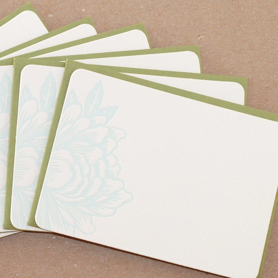 Sky Blue Blossoming Flower Letterpress Stationery : single flat notes w moss green colored envelope