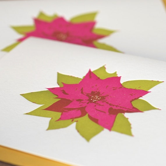 Letterpress Christmas Card : Magenta & Pear Green Poinsettia Holiday - large folded card with mustard yellow envelope