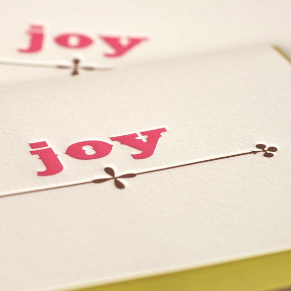 Letterpress Christmas Card Set : Candy Pink and Chocolate Joy Holiday - box of 10 large folded cards w chartreuse green envelopes