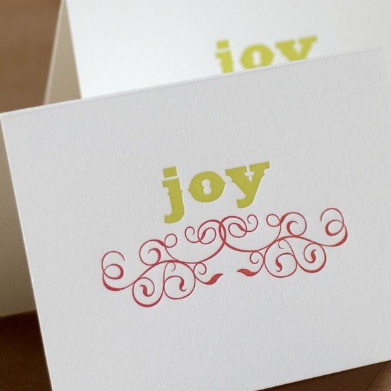 Letterpress Christmas Card Set : Pear Green & Scarlet Red Joy Holiday Cards - box of 5 large folded cards w chocolate envelopes