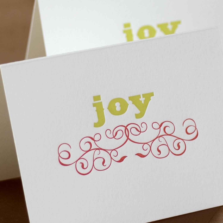 Letterpress Christmas Card Set : Pear Green & Scarlet Red Joy ...