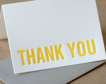 Assorted Letterpress Thank You Cards : Modern Block Thank You Notes - box of 5 small folded cards w mixed colored inks and envelopes