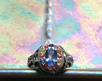 RESERVED FOR S.--A Rainbow of Sapphires in Sterling Silver- The Ivy Halo Ring