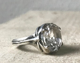 White Topaz and Sterling- Damselfly and Dragonfly Ring