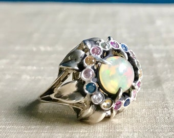 Opal and Fancy Sapphires in Sterling- Sunflower Ring