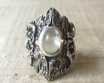 Green Moonstone and Sterling Silver- The Dragonfly Poppy Ring