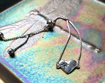Emerald Starlight Heart Bracelet in Sterling Silver