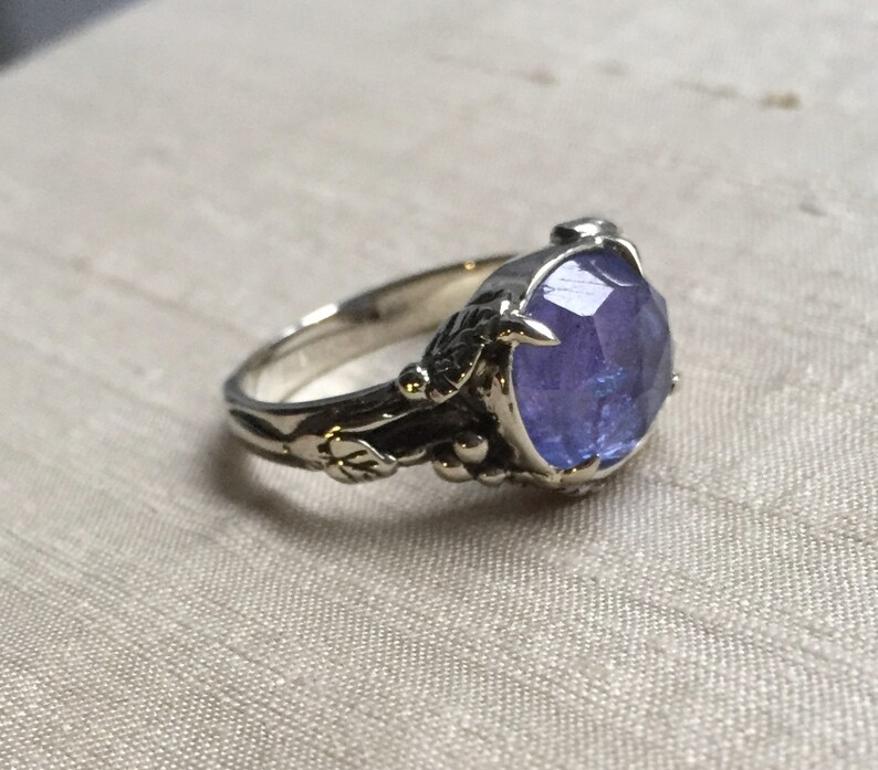 Rose Cut Tanzanite in 14kt White Gold Woodland Vine Ring image 0