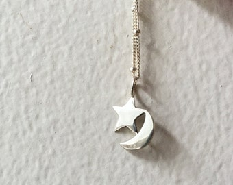 Moon and Star Pendant in Sterling Silver