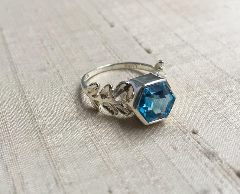 Hexagon Swiss Blue Topaz and Sterling Laurel Leaf Ring image 0
