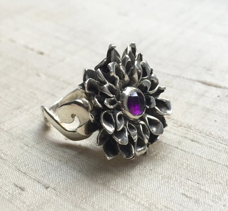Rose Cut Amethyst and Sterling Silver The Chrysanthemum Ring image 0