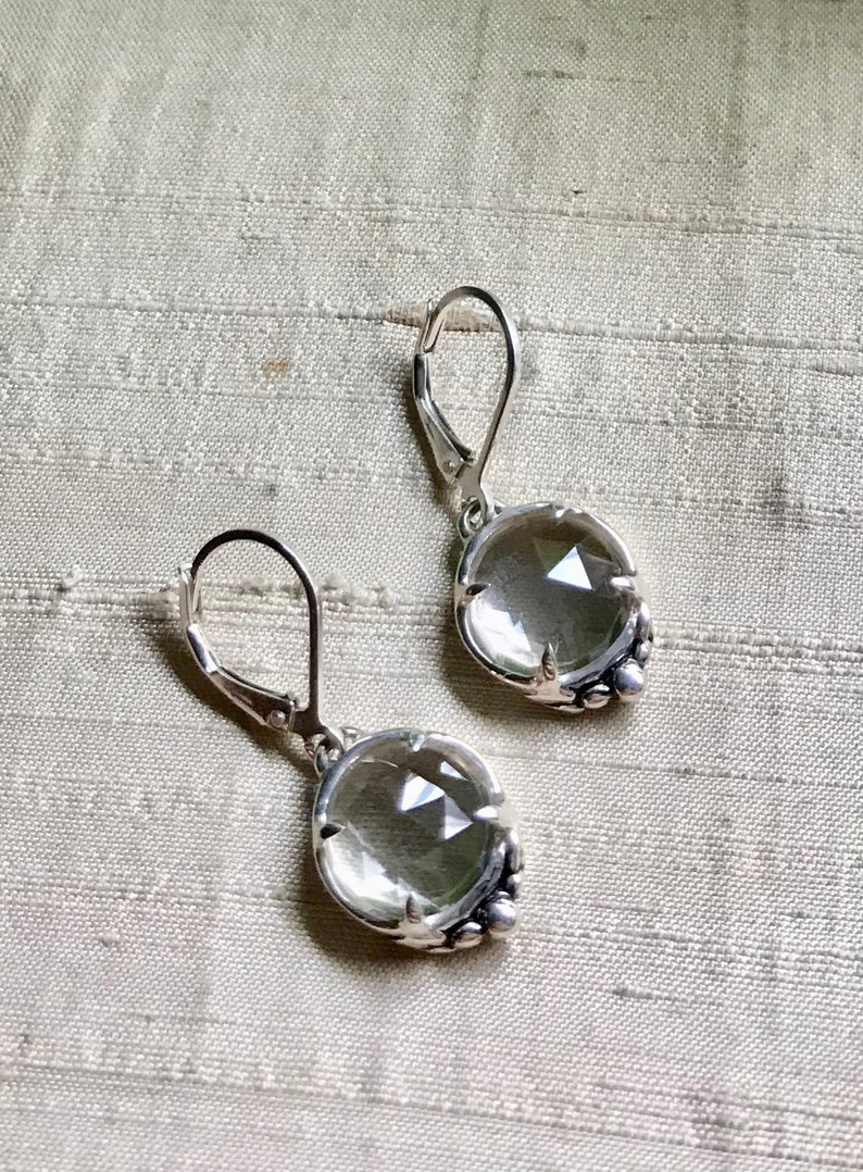Leaf Solitaire Earrings Rose Cut White Topaz and Sterling image 0