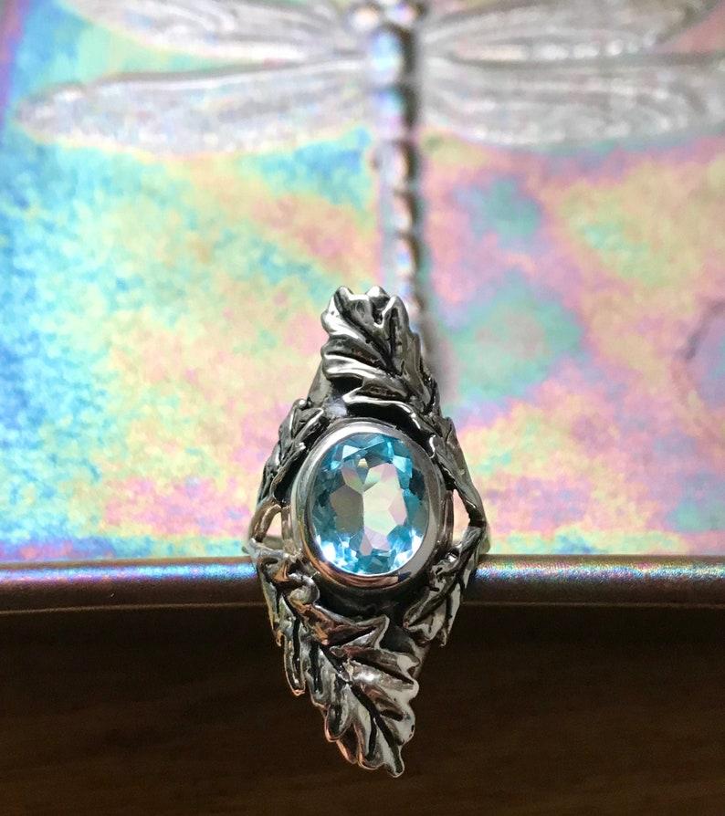 Sky Blue Topaz and Sterling The Oak Leaf Ring image 0