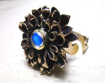 Chrysanthemum Ring in Blue Moonstone and Bronze