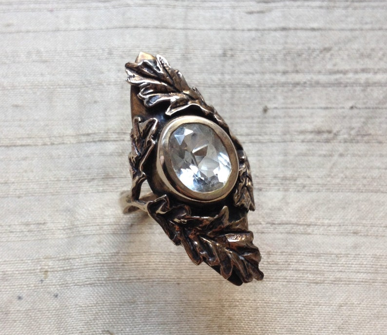 White Topaz and Bronze The Oak Leaf Ring image 0