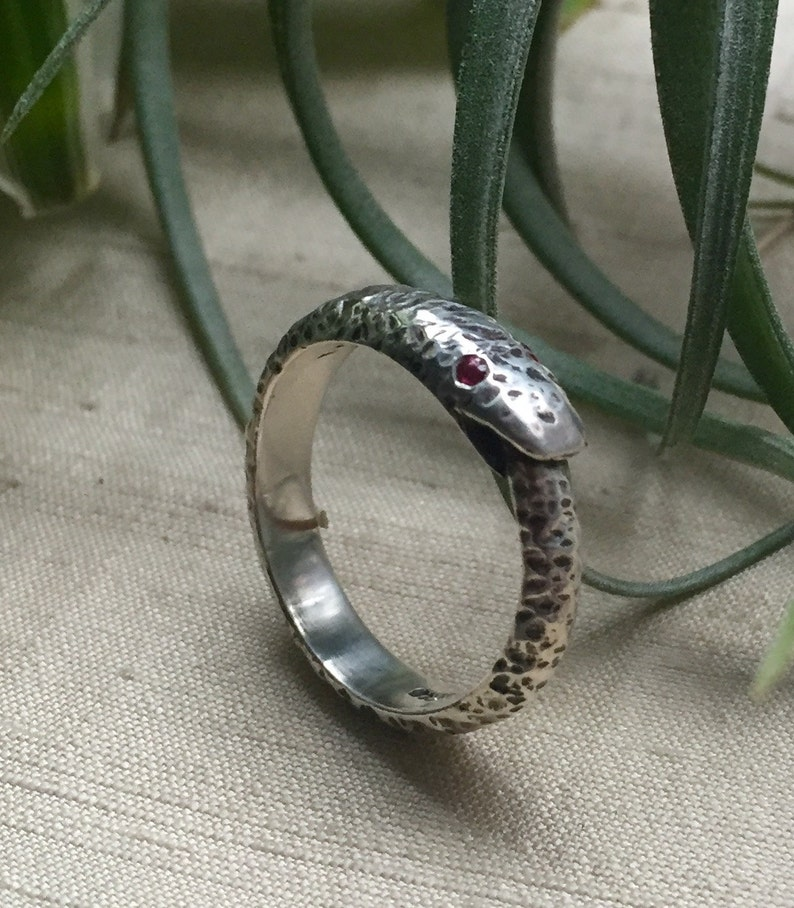 Ruby and Sterling Silver Larger Ouroboros Ring image 0