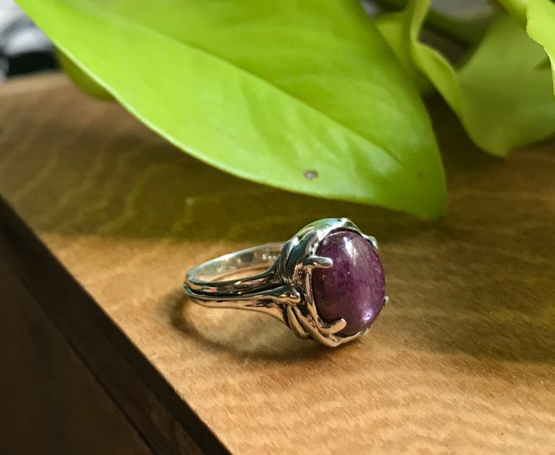 Star Ruby and Sterling Damselfly Ring image 0