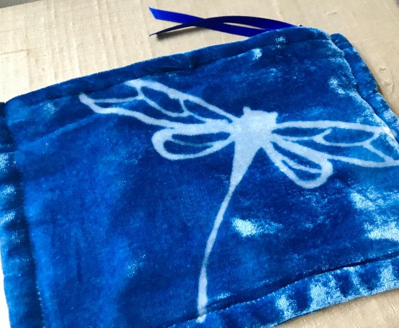Dragonfly Hand Dyed Indigo Silk Velvet Bag Medium One of a image 0
