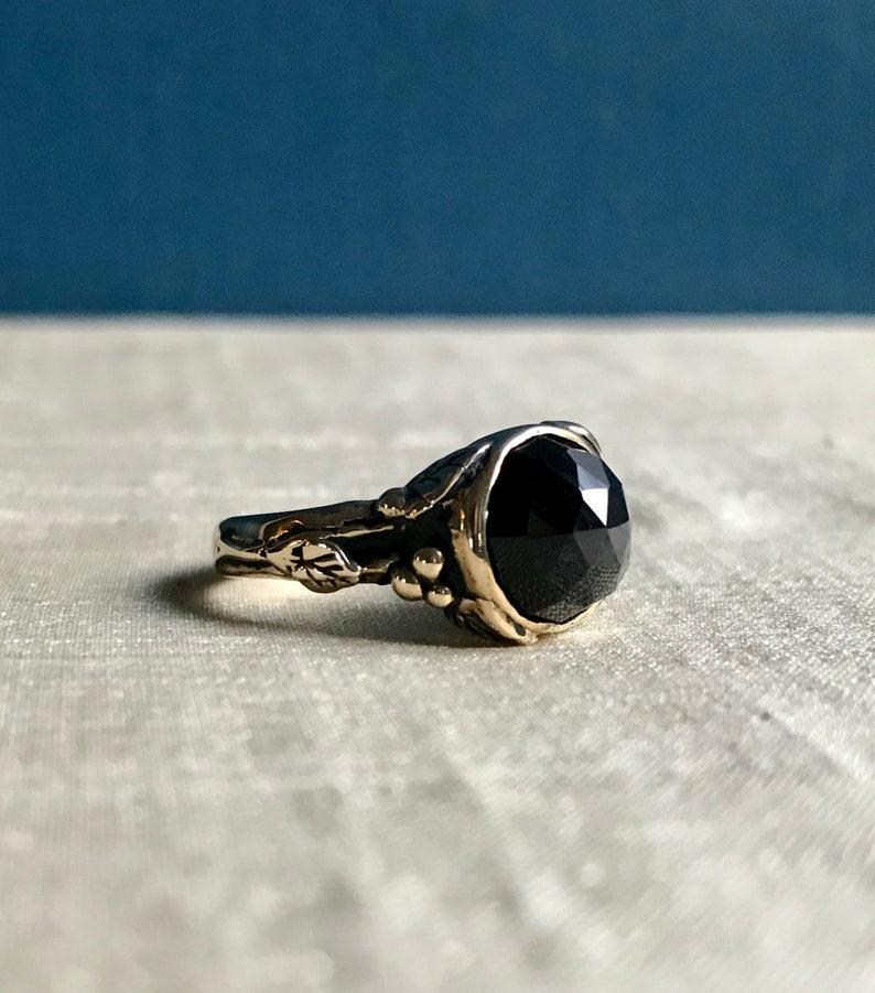 Black Onyx and Bronze Woodland Vine Ring image 0