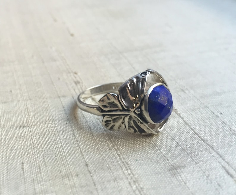 Faceted Lapis  in Sterling Silver The Butterfly Duo Ring image 0