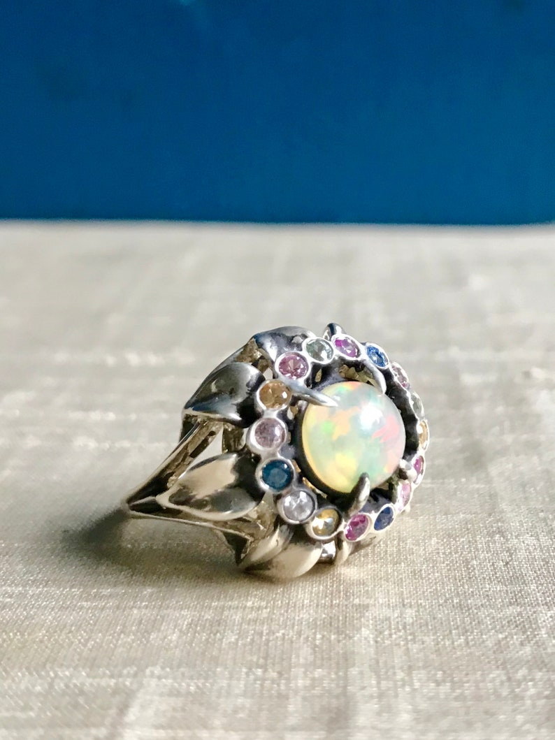 Opal and Fancy Sapphires in Sterling Sunflower Ring image 0