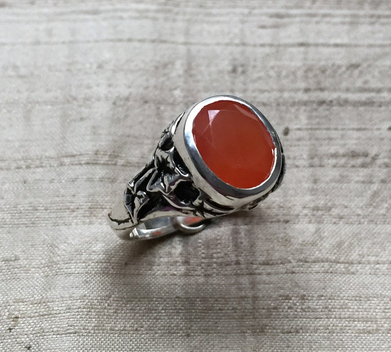 SALE Carnelian and Sterling Silver The Ivy Ring image 0