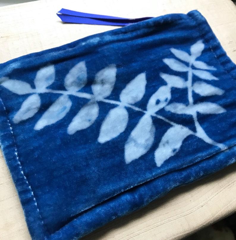 Leaf Pattern Hand Dyed Indigo Silk Velvet Bag Medium One of image 0