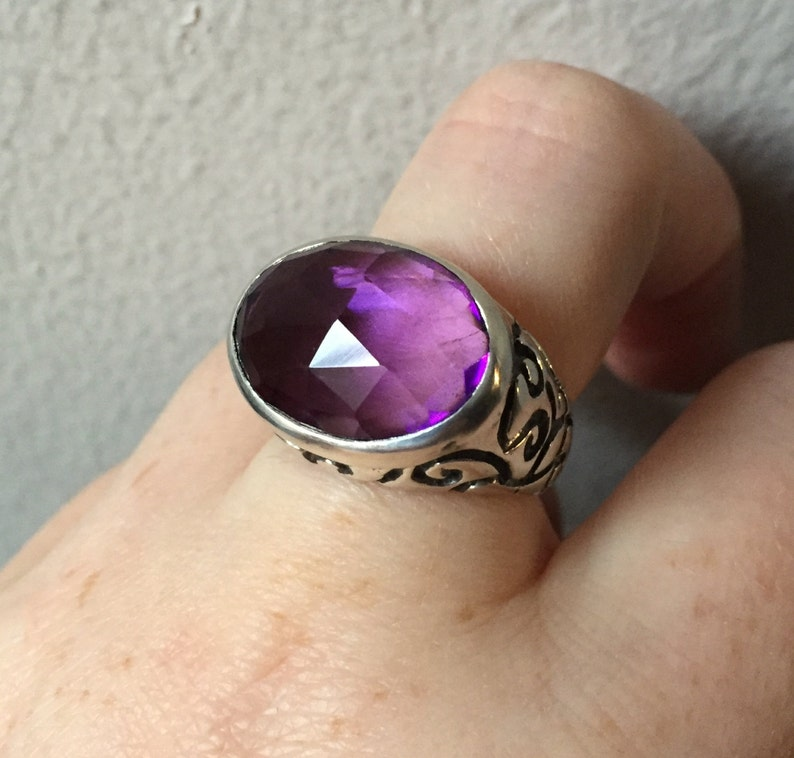 Amethyst and Sterling Silver Longitude Ring image 0