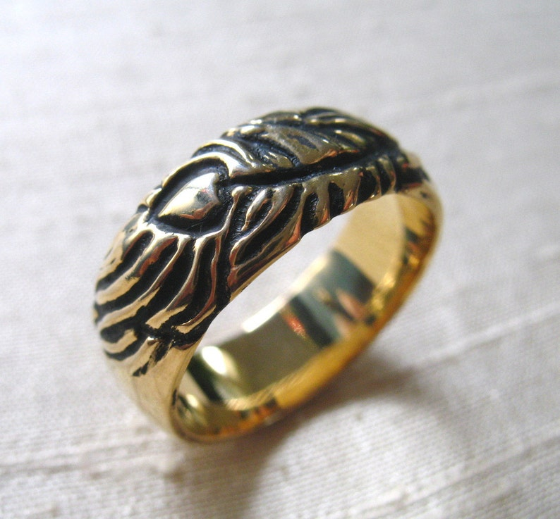 14kt Gold Plated Bronze Peacock Feather Ring Size 7.5 image 0