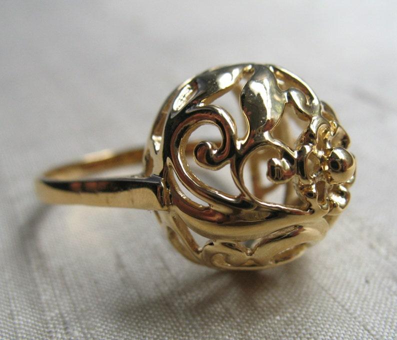Vintage Filigree Dome Ring 14kt Gold Plated Bronze Size 8 image 0