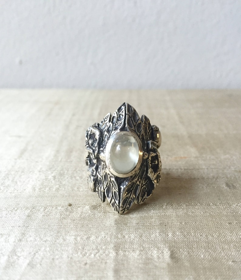 Green Moonstone and Sterling Silver The Dragonfly Poppy Ring image 0