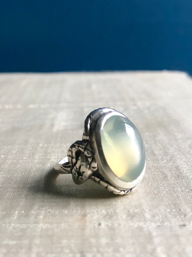 Green Moonstone Emerald and Blue Sapphire in Sterling Silver image 0
