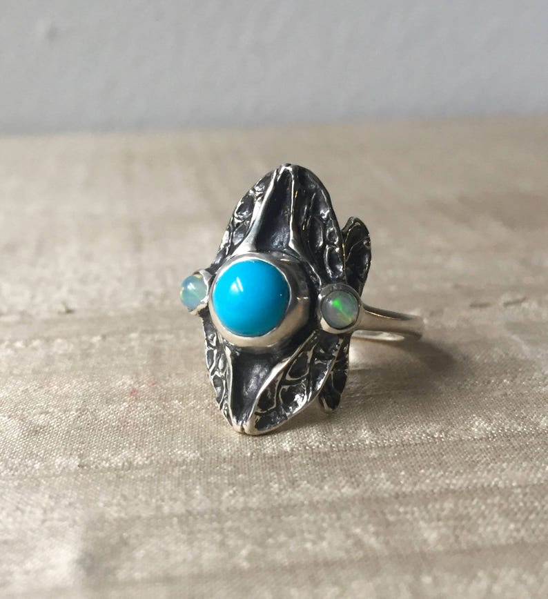 Sleeping Beauty Turquoise and Opals in Sterling Three Stone image 0