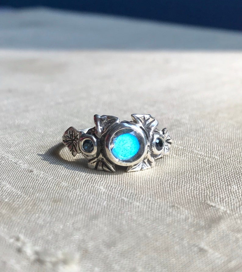 Faceted Labradorite and Sapphires in Sterling Silver The Ivy image 0