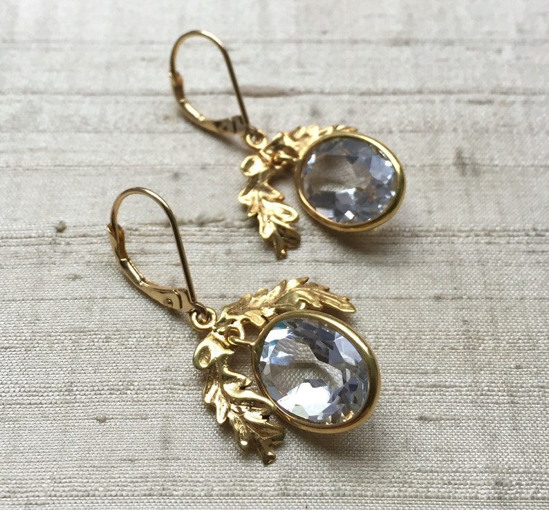 SALE White Topaz and Gold Plated Bronze The Oak Leaf Earrings image 0