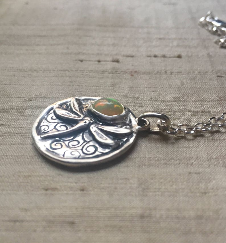 Opal and Sterling The Dragonfly Pendant image 0