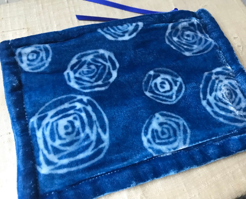 Geometric Roses Hand Dyed Indigo Silk Velvet Bag Medium One image 0