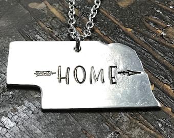 Nebraska Necklace - Gift for Her - Silver Necklace - Jewelry - Hand Stamped - State of Nebraska - Nebraska