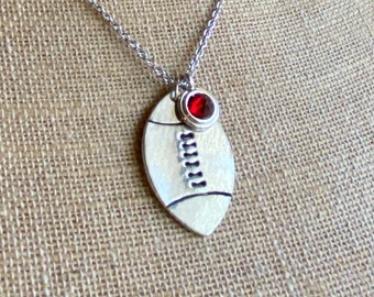 Personalized Football Necklace / Hand stamped Necklace / Custom Necklace / Gift for Her / Football Jewelry / Football gift / Sports jewelry