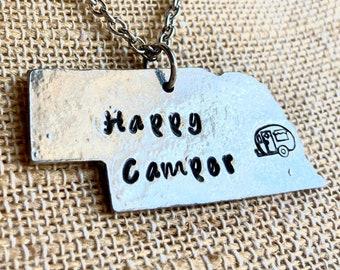 Happy Camper Nebraska Necklace