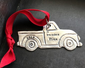 Personalized Vintage Truck Ornament - Necklace - Key Chain - Hand stamped