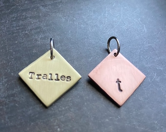 Personalized Brass or Copper Square Charm