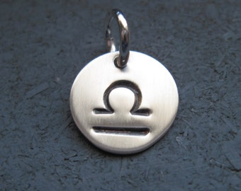 Zodiac Sign Sterling Silver Charm - 1/2  inch-Aries Charm-Taurus Charm-Gemini Charm-Cancer Charm-Leo Charm-Virgo Charm-Libra Charm-Scorpio