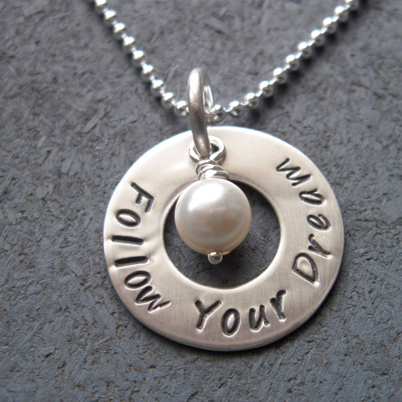 Personalized sterling silver washer necklace with pearl  image 0