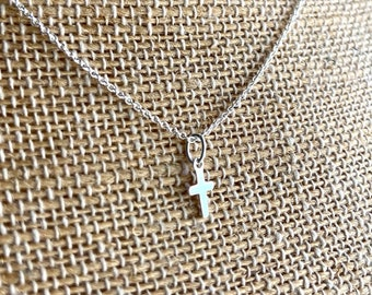 Sterling Silver Tiny Cross Necklace