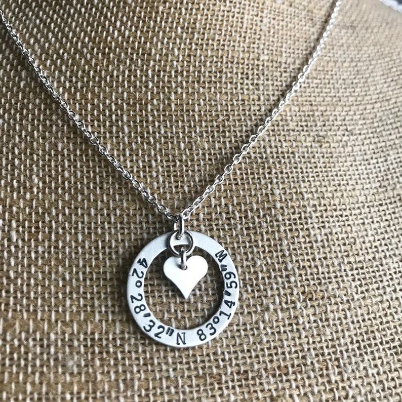 Personalized Sterling Washer Necklace  Personalized Necklace image 0
